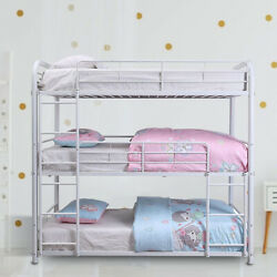Living Room Kids Bedroom Triple Metal Bunk Beds With Guard Rail And Ladder White