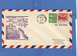 1949 Us Airmail First Flight Cover Wilmington De Fdc