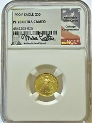 1990 P 5 Gold American Eagle Ngc Pf70 Ultra Cameo - Mike Castle Us Flag Label