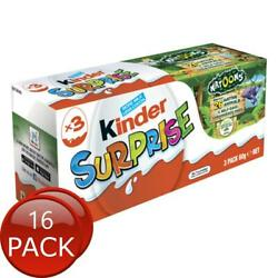 16 X Kinder Surprise Egg 3 Pack 60g Kids Healthy Snack Chocolate Sweets Confe...