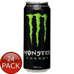 24 X Monster Energy Can Caffeinated Boost Athletes Sports Drink W/ Ginseng 500ml