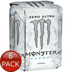 6 X Monster Ultra Zero Sugar Free Sports Energy Fitness Drinks Can 4 Pack 500ml