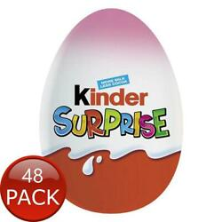 48 X Kinder Egg Surprise Pink Imbutito 20g Chocolate Sweets Snack Confectionery