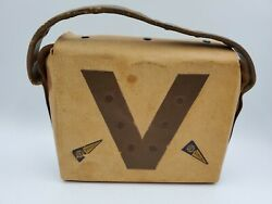 Vintage University Of Virginia Handmade Leather And Suede Purse Bag