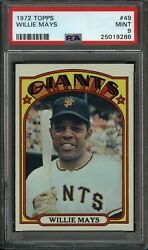 1972 Topps Baseball 49 Willie Mays Giants Psa Mint 9+ And Centered - Andymadec