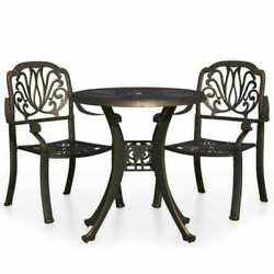 3pcs Patio Bistro Furniture Set Outdoor Cast Aluminum Garden Table And 2 Chairs