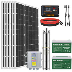 24v Solar Power Water Pump Farm Ranch Submersible Bore Deep Well Battery System