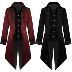 Vintage Men Medieval Gothic Jacket Tailcoat Cosplay Costume Party Outwear Coats