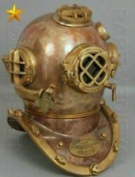 Classic Diving Divers Helmet Antique U.s Navy Mark V Copper And Brass Full Size
