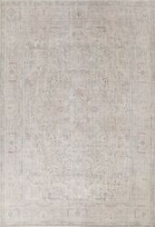 Antique Muted Tebriz Distressed Hand-knotted Evenly Low Pile Wool Area Rug 10x12