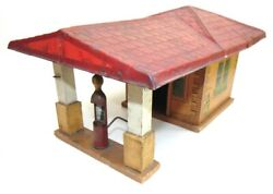 Vintage Gibbs Toys Service Station 1926 W/pump. Tin And Wood. Great Graphics