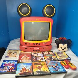 Disney Mickey Mouse Dt1300-c 13 Crt Tv With Dvd Player 11 Dvd Coin Bank Bundle