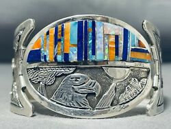 The Best Vintage Navajo Turquoise Inlay Sterling Silver Clasp Bracelet