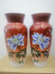 Beautiful Pair Antique Vase French Red Opaline Glass Art Hand Made Decor