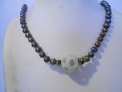 16mm Jade Layer Puzzle Ball / Black Pearl Necklace/ Silver Clasp