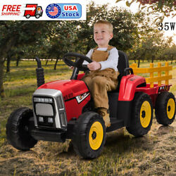 Nasitip 12v Kids Battery Powered Electric Tractor W/ Trailer Toddler Ride-on Toy