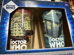 Bbc Doctor Who Laser Decal Set Of Two 16 Oz. Glasses Nib