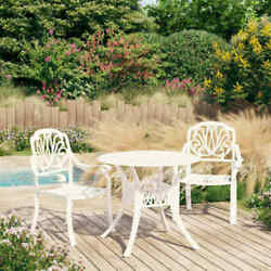 Piece Bistro Set Cast Aluminum Outdoor Patio Chairs And Table W/ Umbrella Hole