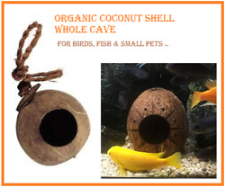 Organic Whole Coconut Shell With Round Hole, Full Cave For Birds, Fish.. Grade 1