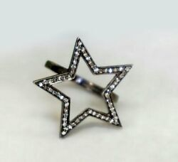 Natural Pave Diamond Star Ring 925silver Handmade Jewelry Birthday Gift For Girl