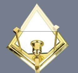 New Partylite Infinity Sconce Candle Holder P0136 Beveled Glass Mirror Brass