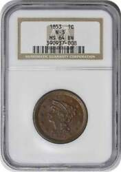 1853 Large Cent Ms64bn Ngc