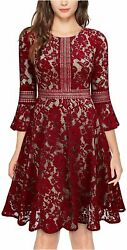 Womenand039s Vintage Full Lace Contrast Flare Sleeve Big Red Size Small 72ly