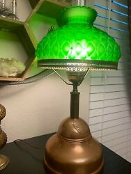 Vintage Hurricane Quilted Shade Gwtw Oil Lamp Style Parlor Table Desk Light Lamp