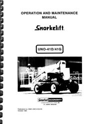 Snorkelift Uno-41d 41g Articulating Boom Lift Operation And Maintenance Manual