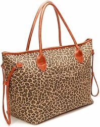 Women Canvas Leopard Shoulder Bag Tote Beach Large Capacity Snap Travel Gifts $31.99