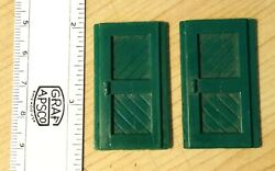 Two 2 Original Plasticville Passenger Station Green Doors - 1 5/8 Inches Tall