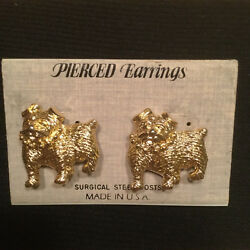 New English Bulldog Pierced Earrings-surgical Steel-gold Color-unbeatable Prices