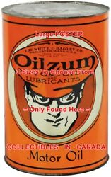Oilzum Hat Goggles White And Bagley Mass. = Poster Motor Oil Can 3 Sizes 17 - 19