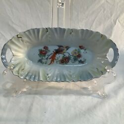 Registered Celebrate Lusterware Chelsea Bird Relish/butter Dish Made In Germany,