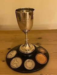 Large Rare Antique Welsh Terrier Silver Dog Show Trophy 1895 And Six Silver Medals