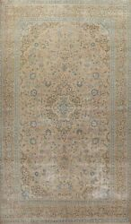 Antique Muted Ardakan Floral Hand-knotted Area Rug Distressed Wool Carpet 10x16