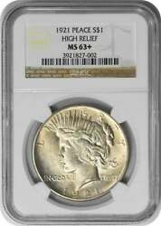 1921 Peace Silver Dollar Ms63+ Ngc