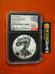 2019 S Enhanced Reverse Proof Silver Eagle Ngc Pf70 Fdi Baltimore Cabral Signed