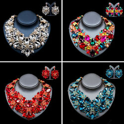 Vintage Crystal Rhinestone Necklace Earring Jewelry Sets Wedding Party Accessory