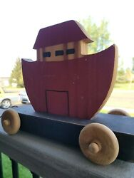 Antique Handmade Wooden Noah Ark Boat Pull Toy Red With Wood Wheels