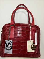 Valentina Made In Italy Bugatti Dome Leather Satchel Handbags Cranberry NWT $89.99