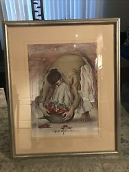 """R. C. Gorman 1976 Signed, Woman With Chili Peppers"""" Authentic…28x17"""" See Desc"""