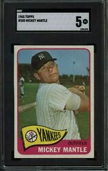 1965 Topps 350 Mickey Mantle New York Yankees Sgc Ex 5 And Centered Newly Graded