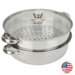 2-layer Stainless Steel Steamer Steam Tray Household Food Steaming Pot Usa Usa