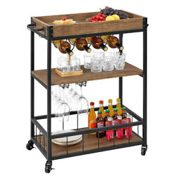 Bar Carts For Home, Kitchen Utility Cart On Wheels With Wine Rack Glass Holder