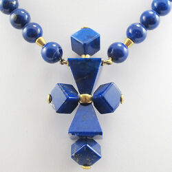 Necklace Designer Necklace Cross Lapis Lazuli 750/18k Yellow Gold 17 11/16in