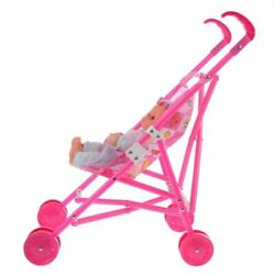 Toy Kid Room Simulation Can Cry Laugh And Mini Pink Cart Model Stroller Baby Doll