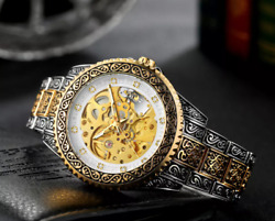 Mechanical Classic Antique Wind Steampunk Bling Watch Diamond Curved Skeleton