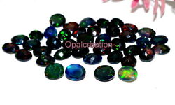10x12 Mm Natural Ethiopian Black Opal Oval Faceted Cut Fire Opal Loose Gemstone