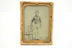 1/4 Plate Clear Glass Ambrotype Civil War Photo Full Portrait Young Soldier